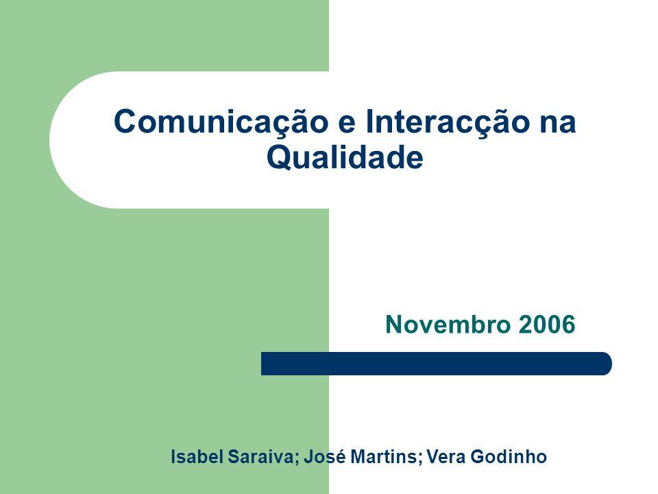 Comunicação e Interacção na Qualidade Novembro 2006 Isabel Saraiva; José Martins; Vera Godinho