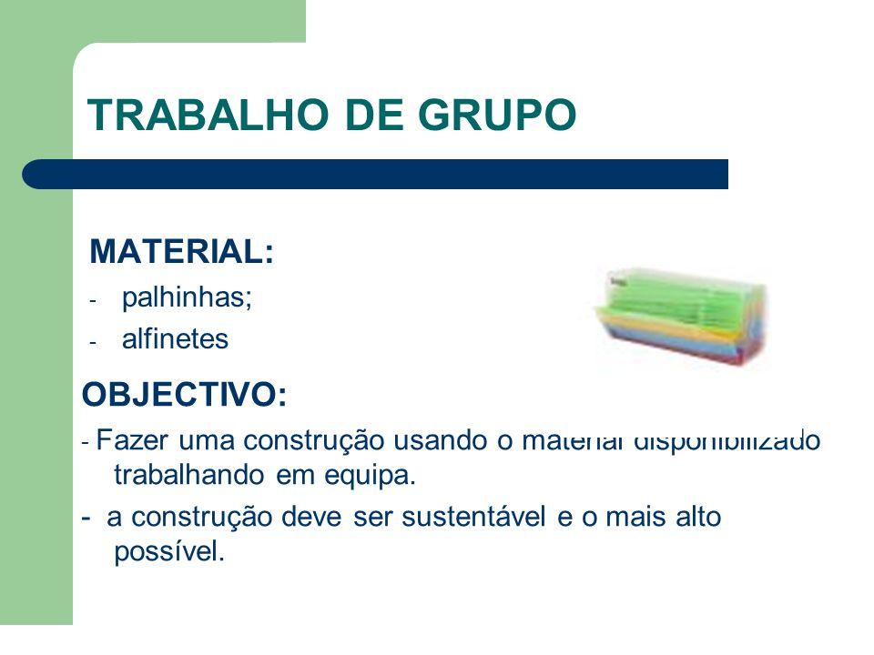 TRABALHO DE GRUPO MATERIAL: - palhinhas; - alfinetes OBJECTIVO: - Fazer uma construção usando o material disponibilizado trabalhando em equipa.