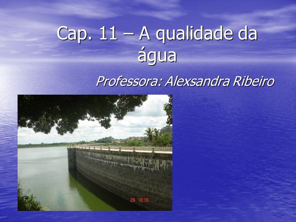 Cap. 11 – A qualidade da água Professora: Alexsandra Ribeiro