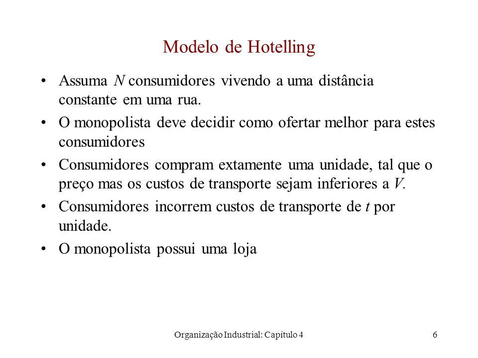 Organização Industrial: Capítulo 47 Modelo de Hotelling x = 0x = 1 Loja 1 x1x1 Preço 1/2 VV p1p1 x1x1 p 1 + t.x p2p2 x2x2 x2x2 Todos os consumidores com a distância x 2 compram da firma Todos os consumidores com a distância x 2 compram da firma p 1 + t.x 1 = V, então x 1 = (V – p 1 )/t