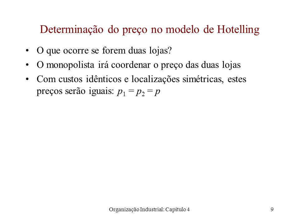 Organização Industrial: Capítulo 49 Determinação do preço no modelo de Hotelling O que ocorre se forem duas lojas.