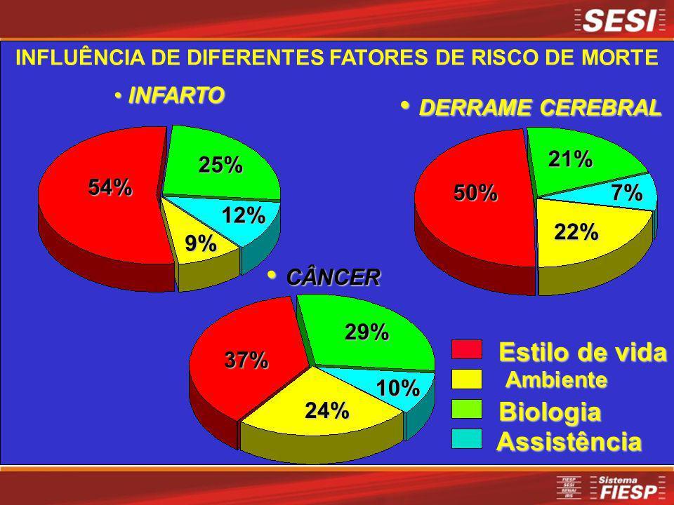 INFARTO INFARTO54% 9% 25% 12% Homens CÂNCER CÂNCER37% 24% 29% 10% DERRAME CEREBRAL DERRAME CEREBRAL50%7% 22% 21% Assistência Biologia Ambiente Estilo