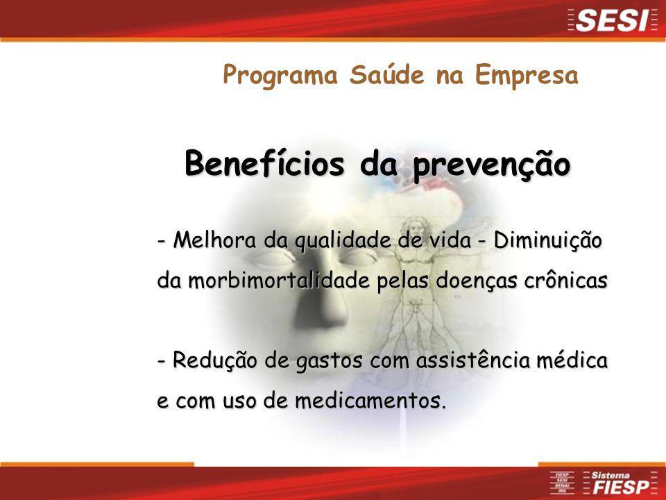 Benefícios da prevenção - Melhora da qualidade de vida - Diminuição da morbimortalidade pelas doenças crônicas - Redução de gastos com assistência méd