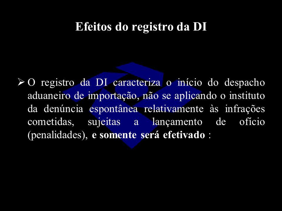 Efeitos do registro da DI  O registro da DI caracteriza o início do despacho aduaneiro de importação, não se aplicando o instituto da denúncia espont