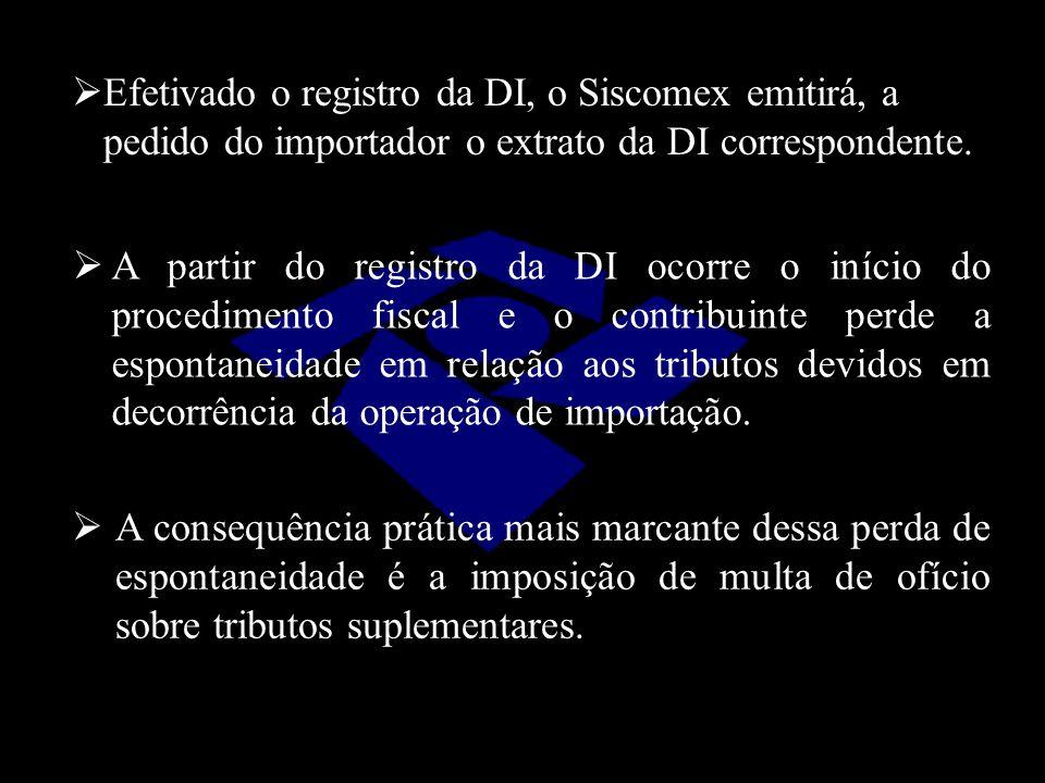  A partir do registro da DI ocorre o início do procedimento fiscal e o contribuinte perde a espontaneidade em relação aos tributos devidos em decorrê