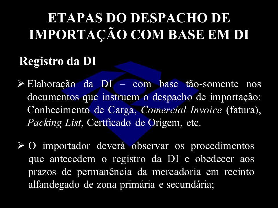 ETAPAS DO DESPACHO DE IMPORTAÇÃO COM BASE EM DI  Elaboração da DI – com base tão-somente nos documentos que instruem o despacho de importação: Conhec