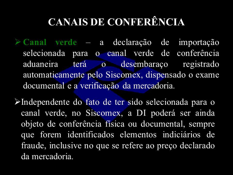 CANAIS DE CONFERÊNCIA  Canal verde – a declaração de importação selecionada para o canal verde de conferência aduaneira terá o desembaraço registrado