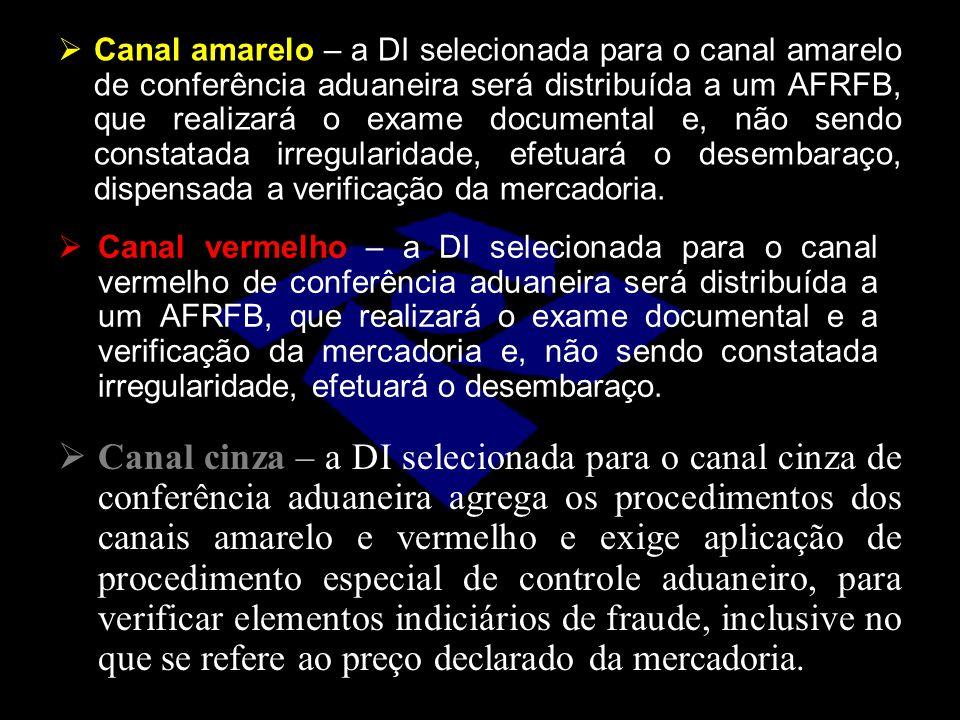  Canal amarelo – a DI selecionada para o canal amarelo de conferência aduaneira será distribuída a um AFRFB, que realizará o exame documental e, não