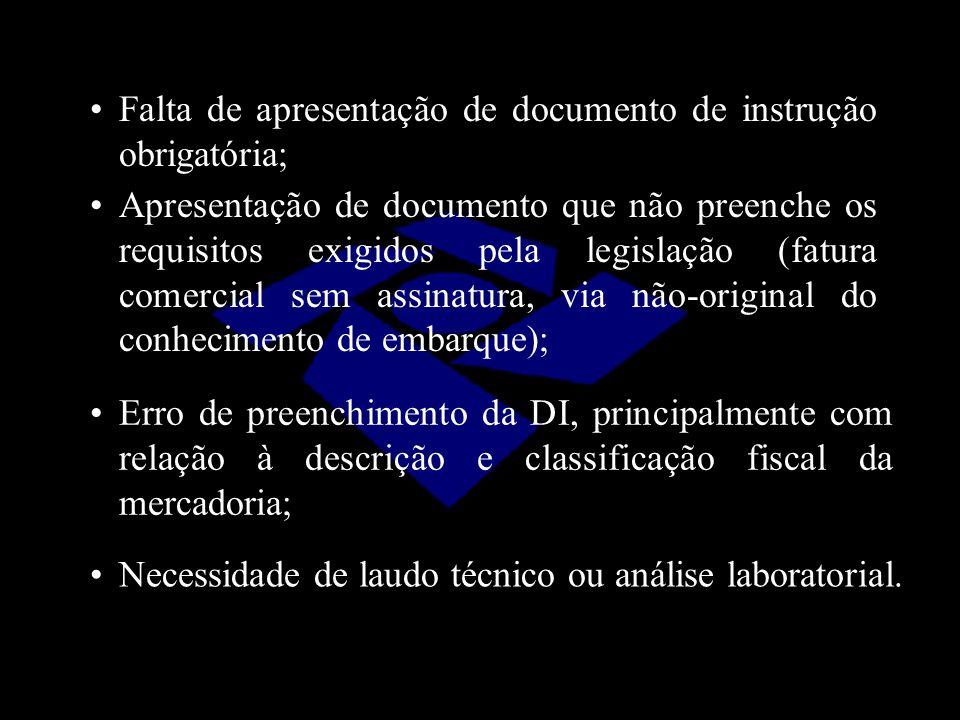 Apresentação de documento que não preenche os requisitos exigidos pela legislação (fatura comercial sem assinatura, via não-original do conhecimento d