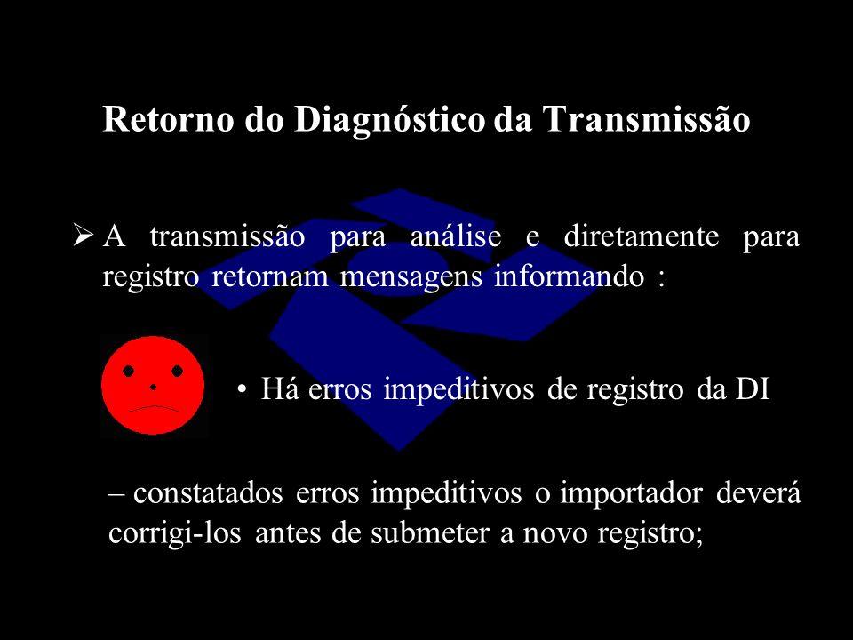 Retorno do Diagnóstico da Transmissão  A transmissão para análise e diretamente para registro retornam mensagens informando : Há erros impeditivos de