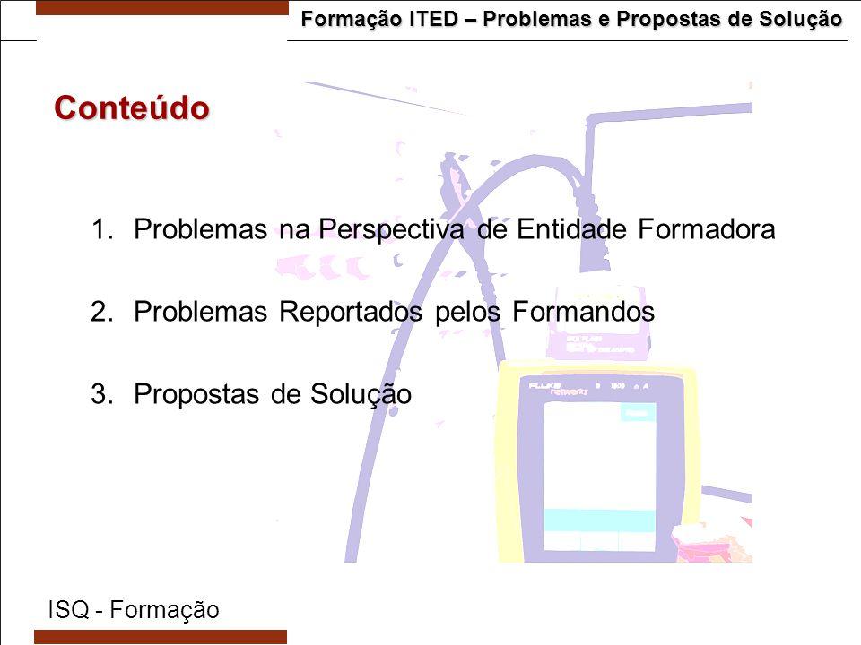 Formação ITED – Problemas e Propostas de Solução  Poucas inscrições para os cursos  Não existência de obrigatoriedade de frequência de cursos habilitantes para todos os técnicos que pretendem inscrever-se na ANACOM  Existência de cursos habilitantes gratuitos, em entidades publicas não designadas pela ANACOM.