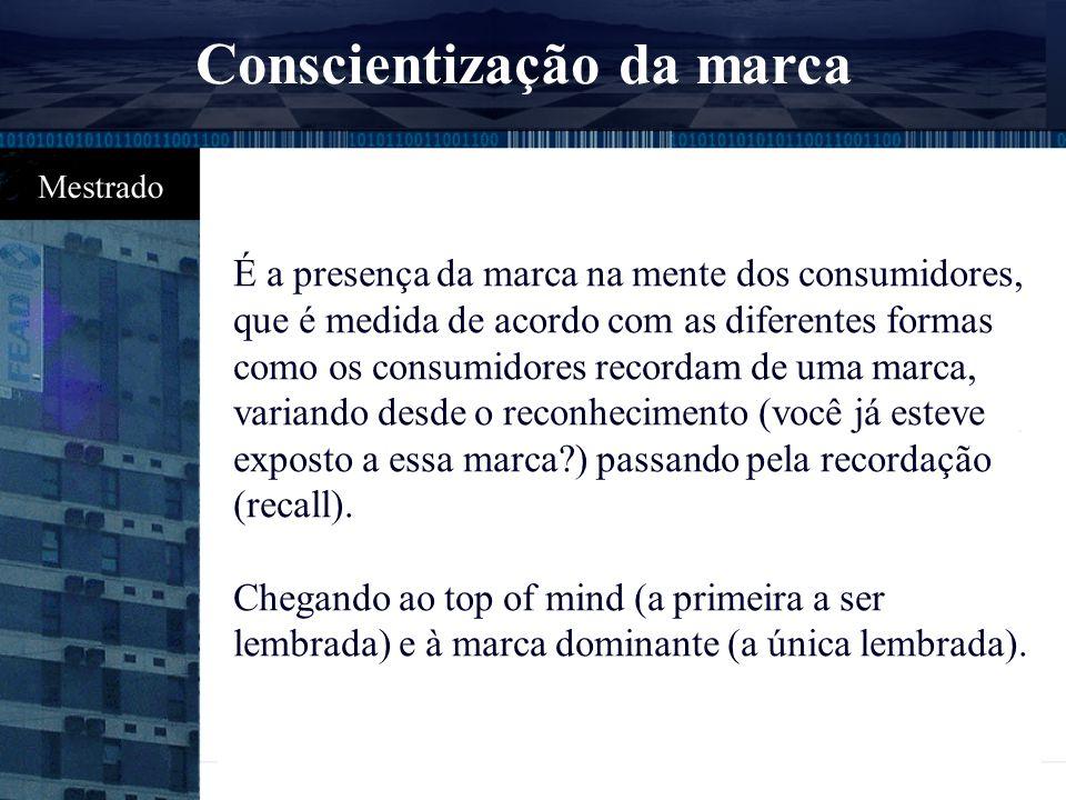 As principais categorias de recursos são: l Conscientização sobre a marca registrada l Fidelidade em relação à marca l Qualidade percebida l Associaçõ