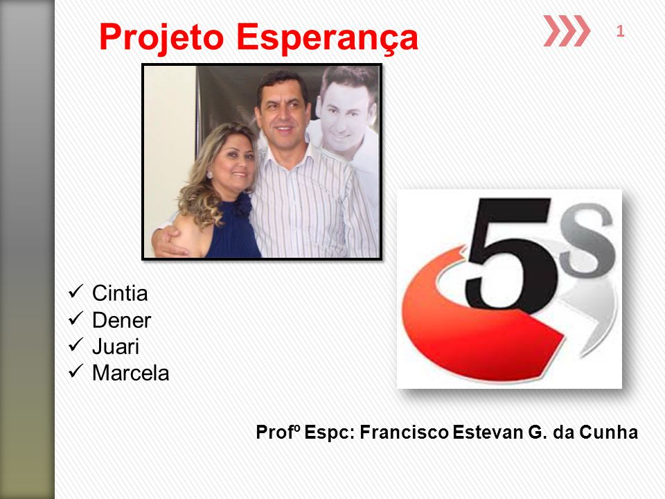 1 Projeto Esperança Cintia Dener Juari Marcela Profº Espc: Francisco Estevan G. da Cunha