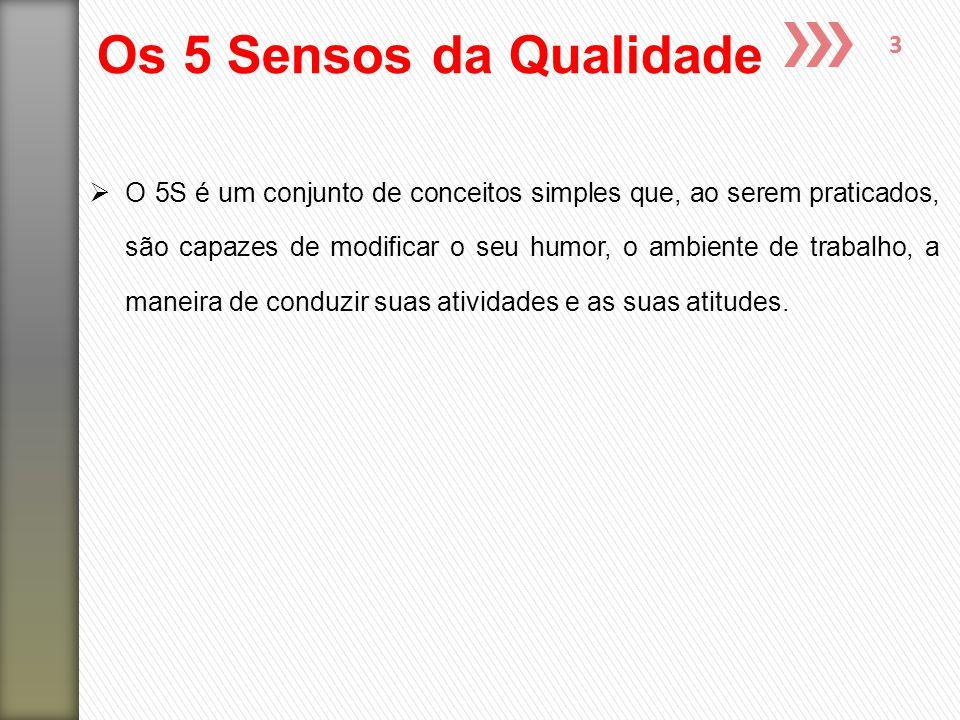3 Os 5 Sensos da Qualidade  O 5S é um conjunto de conceitos simples que, ao serem praticados, são capazes de modificar o seu humor, o ambiente de tra