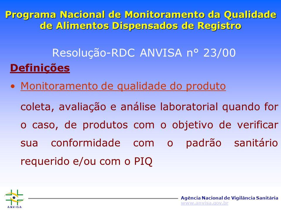 Agência Nacional de Vigilância Sanitária www.anvisa.gov.br Programa Nacional de Monitoramento da Qualidade de Alimentos Dispensados de Registro Resolu
