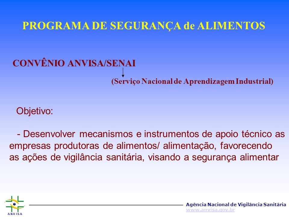 Agência Nacional de Vigilância Sanitária www.anvisa.gov.br Qualificação dos técnicos da vigilância sanitária Convênio ANVISA/INPPAZ-OPAS-OMS Maior int