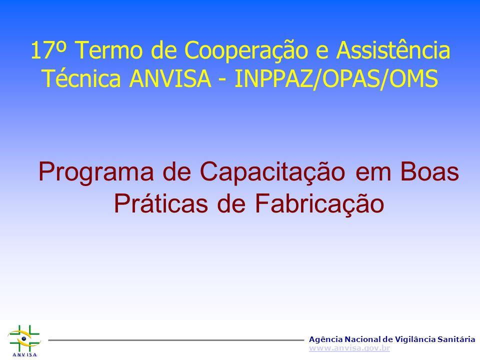 Agência Nacional de Vigilância Sanitária www.anvisa.gov.br Convênio ANVISA - INPPAZ/OPAS/OMS