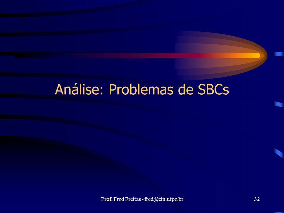 Prof. Fred Freitas - fred@cin.ufpe.br32 Análise: Problemas de SBCs