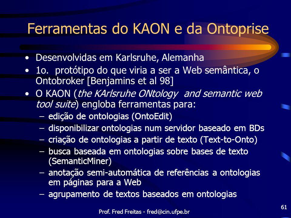 Prof. Fred Freitas - fred@cin.ufpe.br 61 Ferramentas do KAON e da Ontoprise Desenvolvidas em Karlsruhe, Alemanha 1o. protótipo do que viria a ser a We
