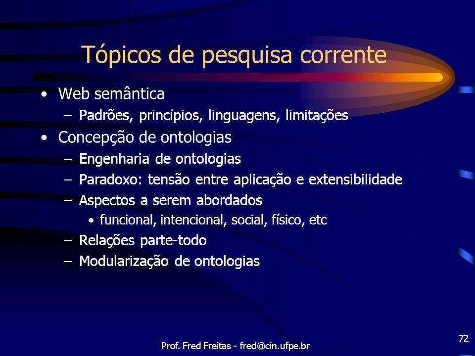 Prof. Fred Freitas - fred@cin.ufpe.br 72 Tópicos de pesquisa corrente Web semântica –Padrões, princípios, linguagens, limitações Concepção de ontologi