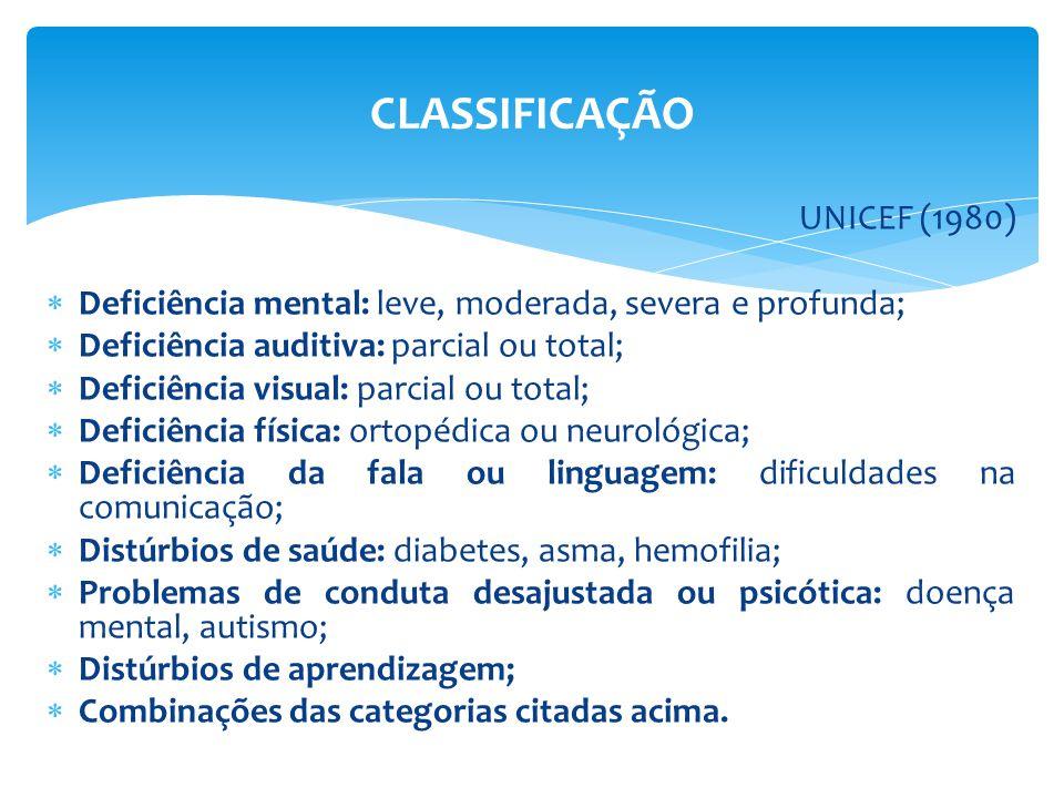 UNICEF (1980)  Deficiência mental: leve, moderada, severa e profunda;  Deficiência auditiva: parcial ou total;  Deficiência visual: parcial ou total;  Deficiência física: ortopédica ou neurológica;  Deficiência da fala ou linguagem: dificuldades na comunicação;  Distúrbios de saúde: diabetes, asma, hemofilia;  Problemas de conduta desajustada ou psicótica: doença mental, autismo;  Distúrbios de aprendizagem;  Combinações das categorias citadas acima.