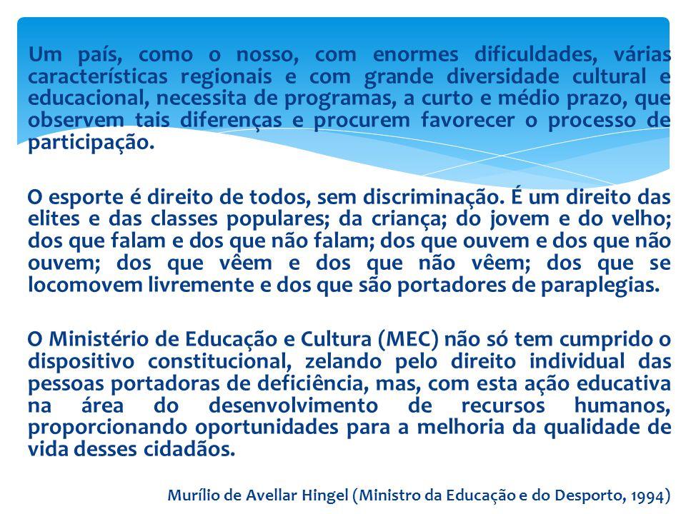  Instituto Brasileiro de Geografia e Estatística (IBGE-2010): 45,6 milhões tem algum tipo de deficiência: -35 milhões deficiência visual: 16% H e 21,4 M -13,3 milhões deficiência física: 5,3% H e 8,5% M -9,7 milhões deficiência auditiva: 5,3% H e 4,3% M -2,6 milhões deficiência mental: 1,5% H e 1,2% M