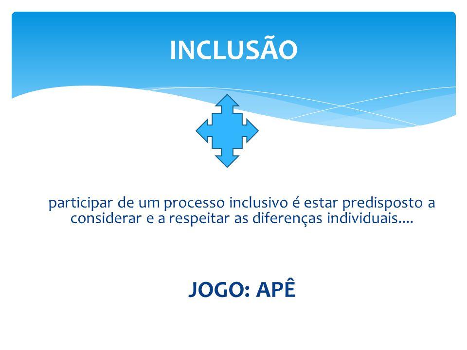 participar de um processo inclusivo é estar predisposto a considerar e a respeitar as diferenças individuais....