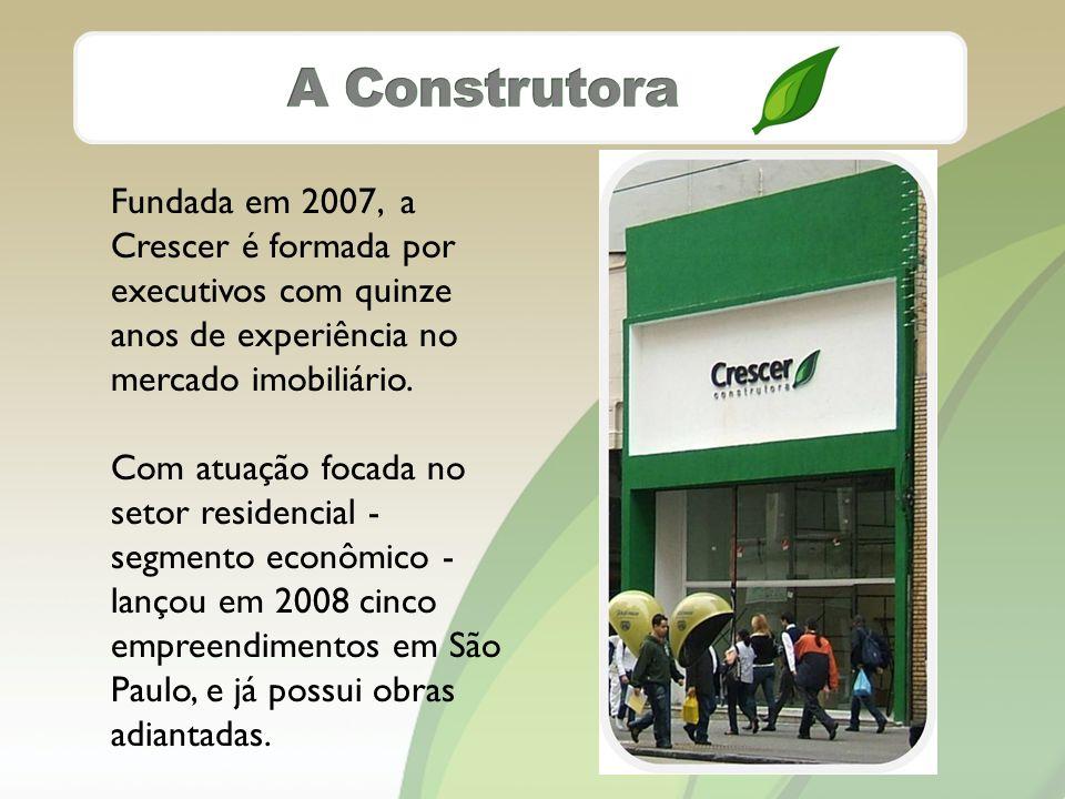 Fundada em 2007, a Crescer é formada por executivos com quinze anos de experiência no mercado imobiliário.