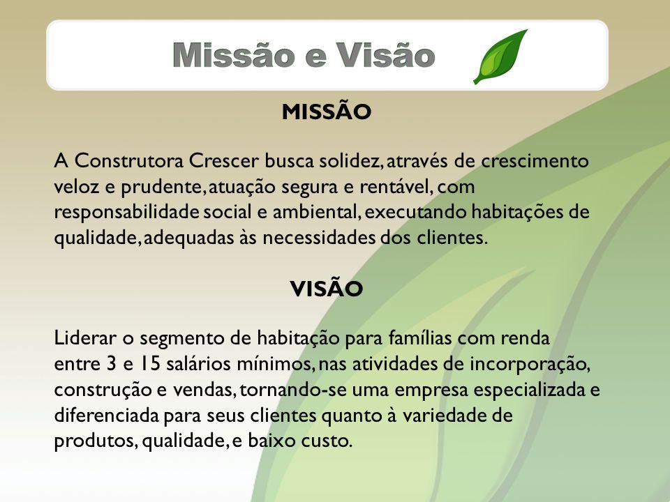 MISSÃO A Construtora Crescer busca solidez, através de crescimento veloz e prudente, atuação segura e rentável, com responsabilidade social e ambiental, executando habitações de qualidade, adequadas às necessidades dos clientes.