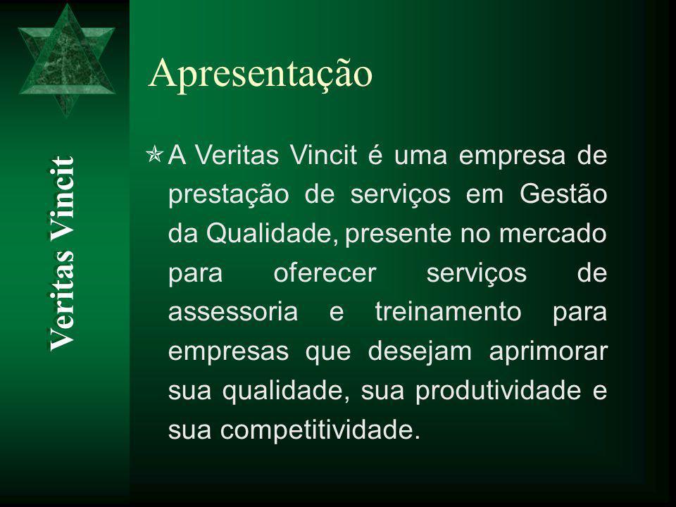 Apresentação  A Veritas Vincit é uma empresa de prestação de serviços em Gestão da Qualidade, presente no mercado para oferecer serviços de assessoria e treinamento para empresas que desejam aprimorar sua qualidade, sua produtividade e sua competitividade.