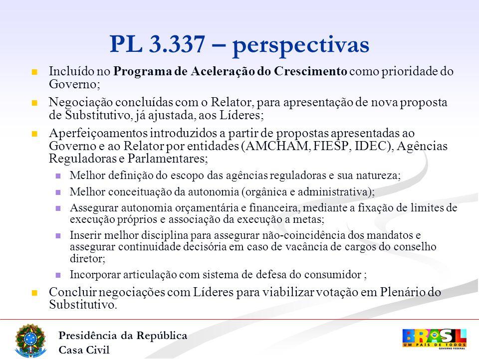 Presidência da República Casa Civil PL 3.337 – perspectivas Incluído no Programa de Aceleração do Crescimento como prioridade do Governo; Negociação concluídas com o Relator, para apresentação de nova proposta de Substitutivo, já ajustada, aos Líderes; Aperfeiçoamentos introduzidos a partir de propostas apresentadas ao Governo e ao Relator por entidades (AMCHAM, FIESP, IDEC), Agências Reguladoras e Parlamentares; Melhor definição do escopo das agências reguladoras e sua natureza; Melhor conceituação da autonomia (orgânica e administrativa); Assegurar autonomia orçamentária e financeira, mediante a fixação de limites de execução próprios e associação da execução a metas; Inserir melhor disciplina para assegurar não-coincidência dos mandatos e assegurar continuidade decisória em caso de vacância de cargos do conselho diretor; Incorporar articulação com sistema de defesa do consumidor ; Concluir negociações com Líderes para viabilizar votação em Plenário do Substitutivo.