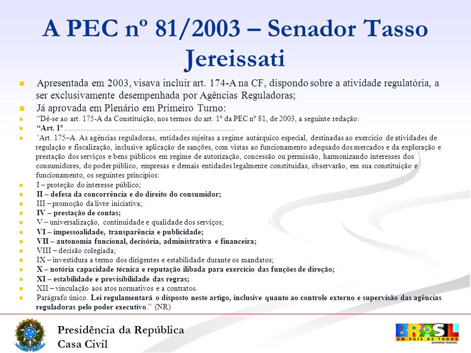 Presidência da República Casa Civil A PEC nº 81/2003 – Senador Tasso Jereissati Apresentada em 2003, visava incluir art.