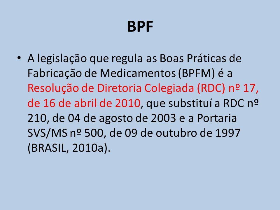 A legislação que regula as Boas Práticas de Fabricação de Medicamentos (BPFM) é a Resolução de Diretoria Colegiada (RDC) nº 17, de 16 de abril de 2010