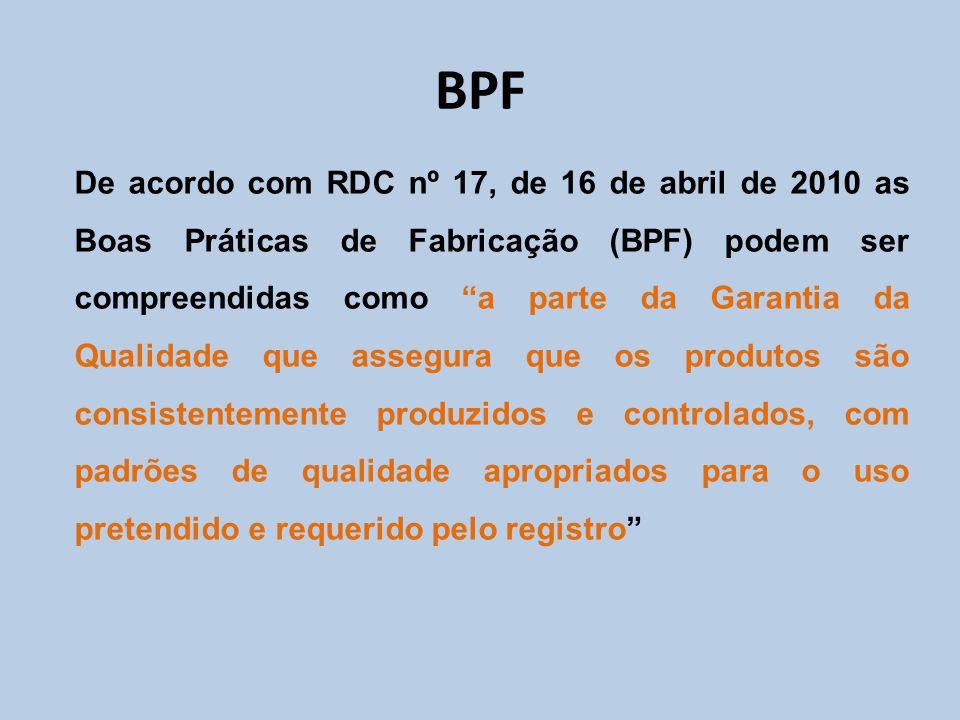 """De acordo com RDC nº 17, de 16 de abril de 2010 as Boas Práticas de Fabricação (BPF) podem ser compreendidas como """"a parte da Garantia da Qualidade qu"""