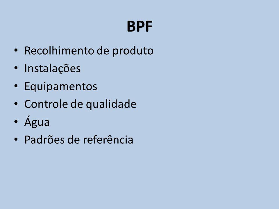 Recolhimento de produto Instalações Equipamentos Controle de qualidade Água Padrões de referência BPF