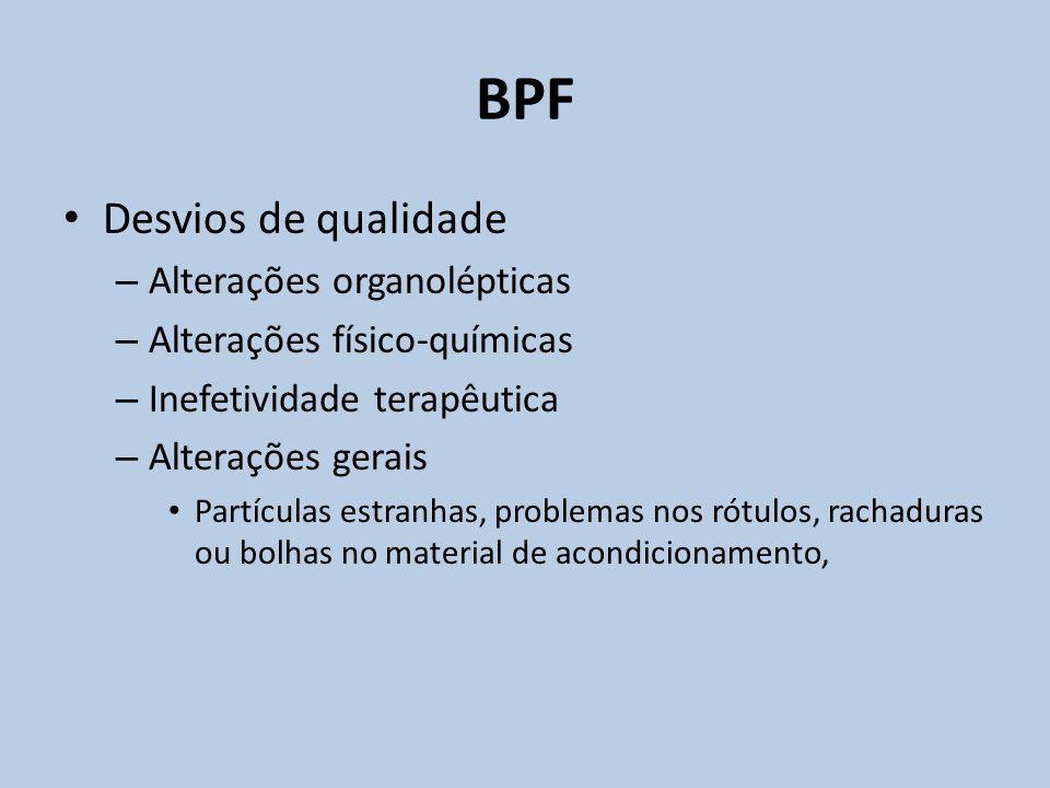 Desvios de qualidade – Alterações organolépticas – Alterações físico-químicas – Inefetividade terapêutica – Alterações gerais Partículas estranhas, pr