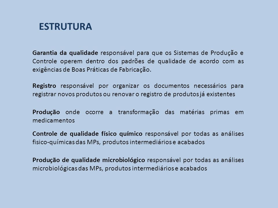 Produção onde ocorre a transformação das matérias primas em medicamentos Registro responsável por organizar os documentos necessários para registrar n