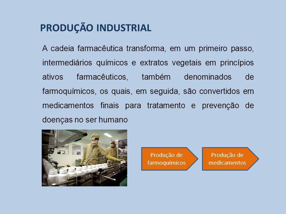 A cadeia farmacêutica transforma, em um primeiro passo, intermediários químicos e extratos vegetais em princípios ativos farmacêuticos, também denomin