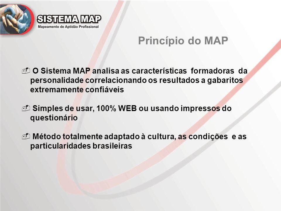  O Sistema MAP analisa as características formadoras da personalidade correlacionando os resultados a gabaritos extremamente confiáveis  Simples de usar, 100% WEB ou usando impressos do questionário  Método totalmente adaptado à cultura, as condições e as particularidades brasileiras
