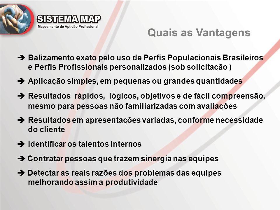 Quais as Vantagens  Balizamento exato pelo uso de Perfis Populacionais Brasileiros e Perfis Profissionais personalizados (sob solicitação )  Aplicaç