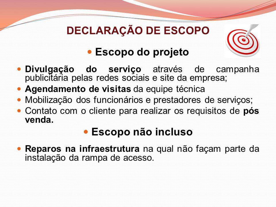 DECLARAÇÃO DE ESCOPO Escopo do projeto Divulgação do serviço através de campanha publicitária pelas redes sociais e site da empresa; Agendamento de vi
