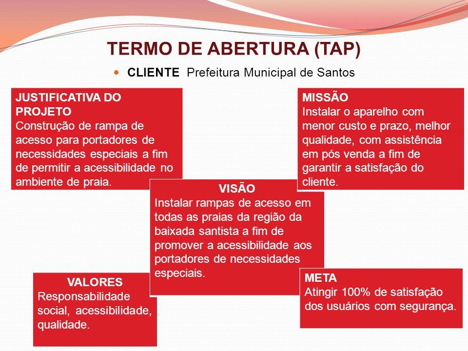TERMO DE ABERTURA (TAP) CLIENTE Prefeitura Municipal de Santos VALORES Responsabilidade social, acessibilidade, qualidade. JUSTIFICATIVA DO PROJETO Co