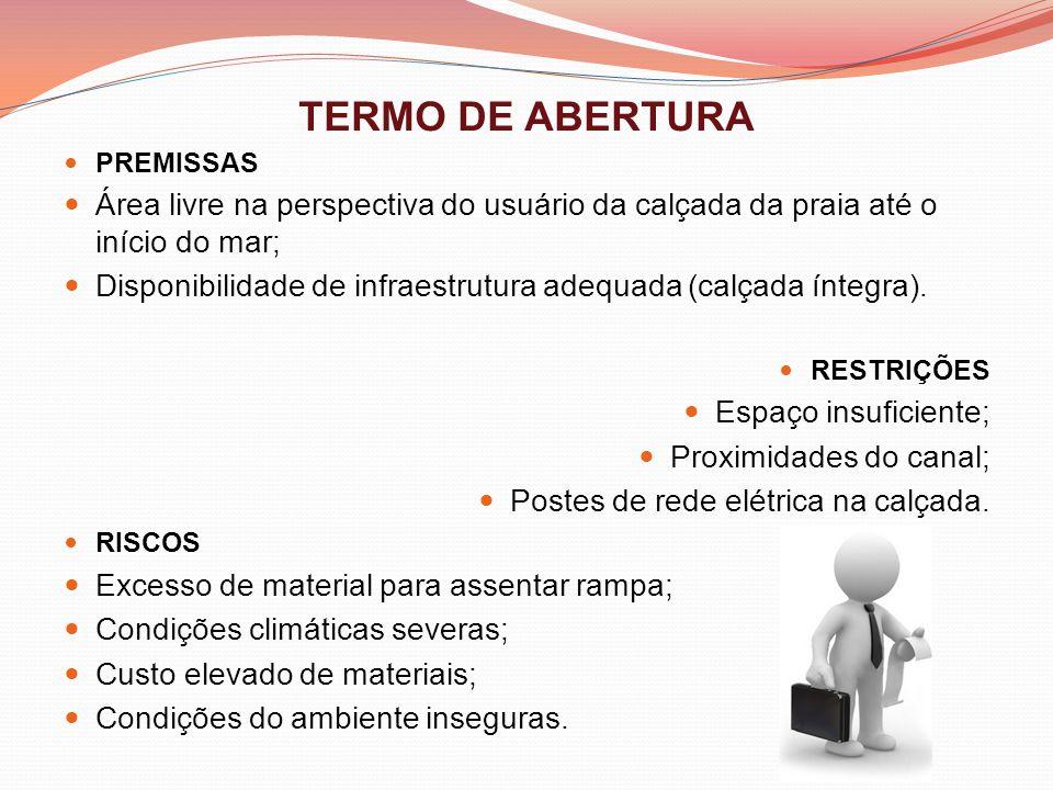 TERMO DE ABERTURA PREMISSAS Área livre na perspectiva do usuário da calçada da praia até o início do mar; Disponibilidade de infraestrutura adequada (