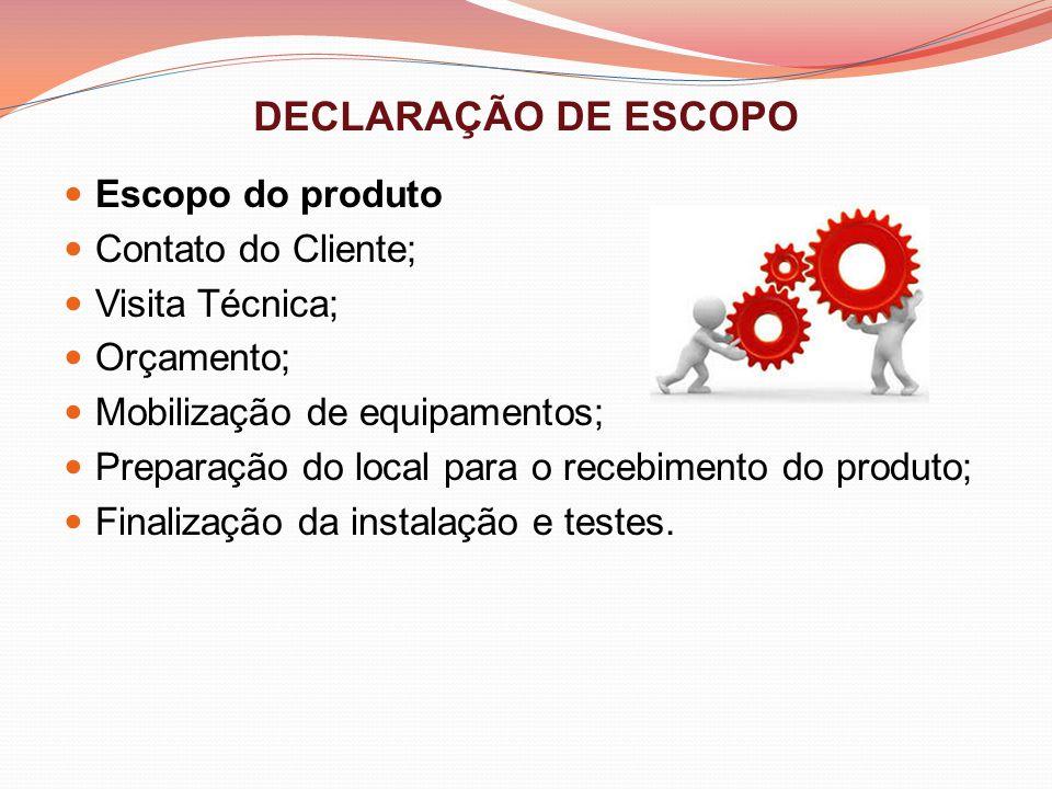 DECLARAÇÃO DE ESCOPO Escopo do produto Contato do Cliente; Visita Técnica; Orçamento; Mobilização de equipamentos; Preparação do local para o recebime