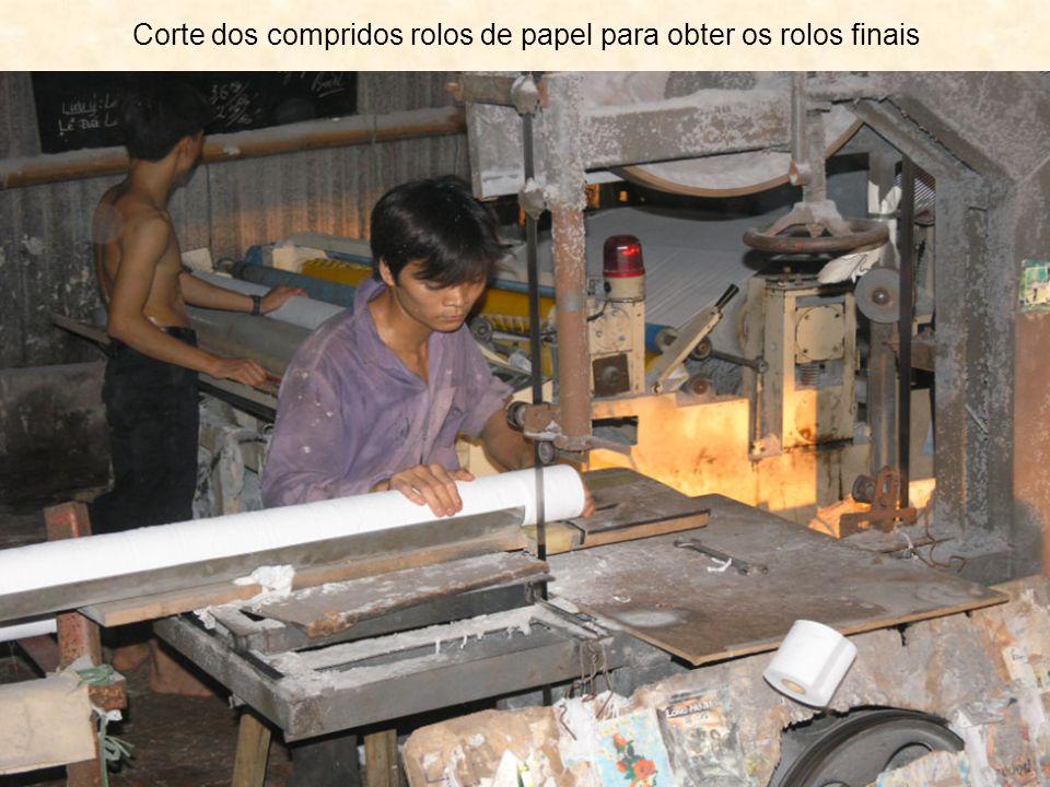 Corte dos compridos rolos de papel para obter os rolos finais