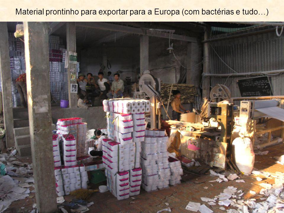 Material prontinho para exportar para a Europa (com bactérias e tudo…)