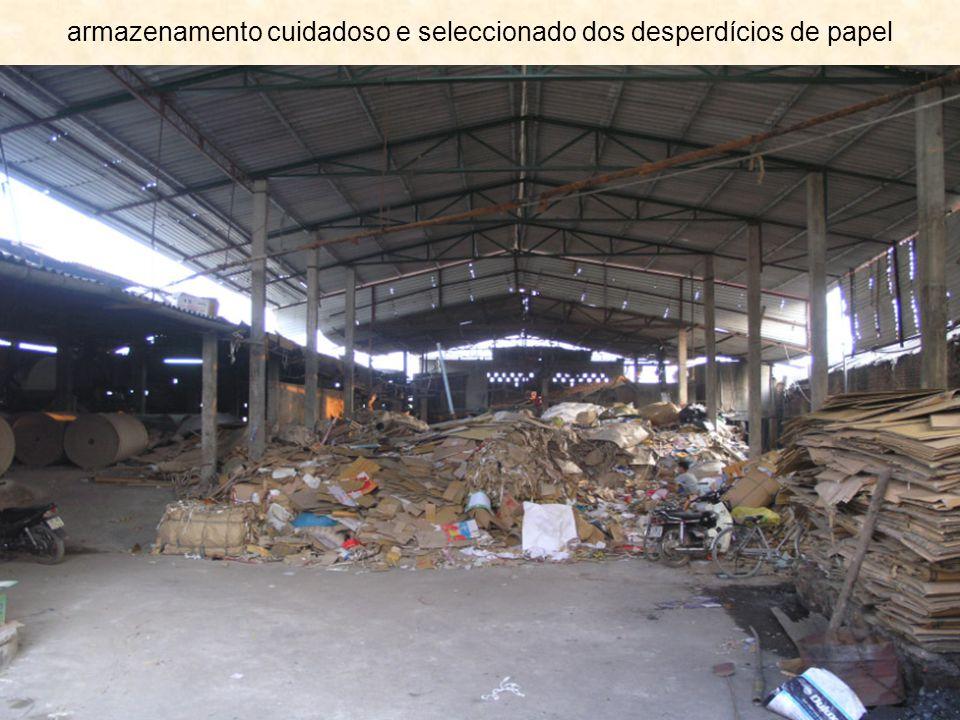 armazenamento cuidadoso e seleccionado dos desperdícios de papel