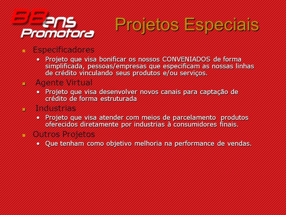 Projetos Especiais Especificadores Projeto que visa bonificar os nossos CONVENIADOS de forma simplificada, pessoas/empresas que especificam as nossas