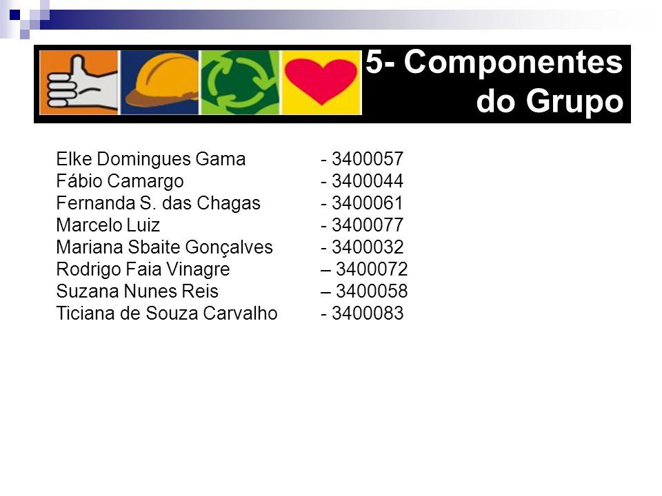 5- Componentes do Grupo Elke Domingues Gama - 3400057 Fábio Camargo - 3400044 Fernanda S. das Chagas - 3400061 Marcelo Luiz - 3400077 Mariana Sbaite G