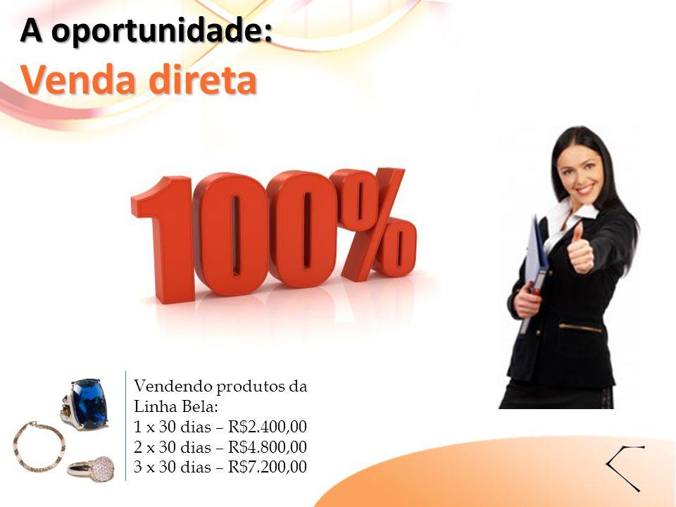 A oportunidade: Venda direta Vendendo produtos da Linha Bela: 1 x 30 dias – R$2.400,00 2 x 30 dias – R$4.800,00 3 x 30 dias – R$7.200,00